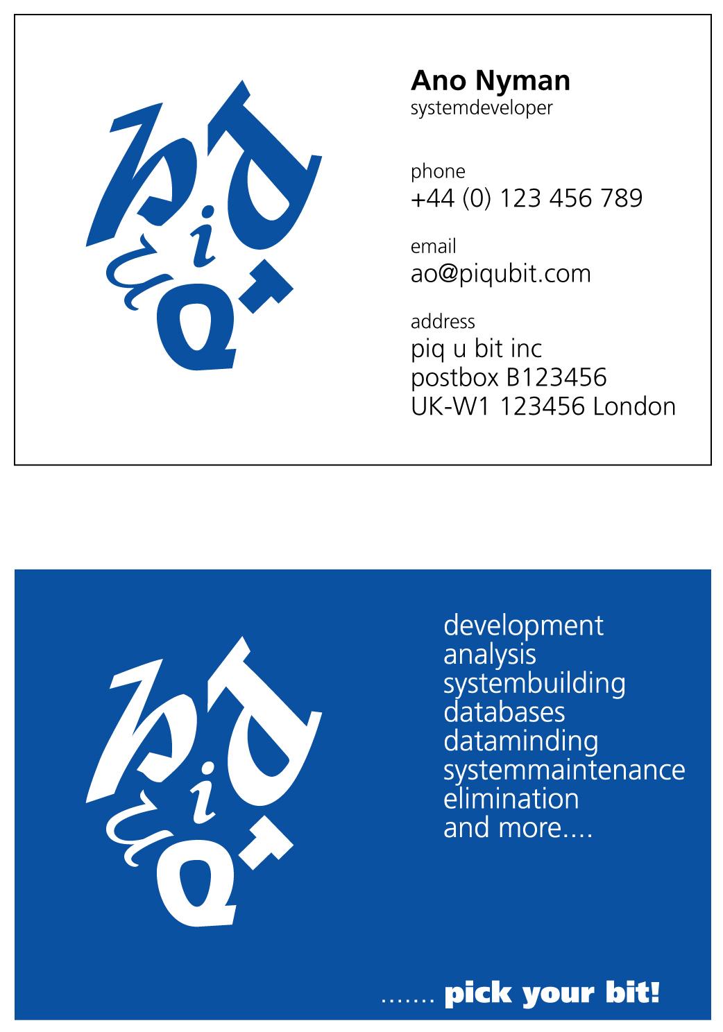 piq u bit, businesscard